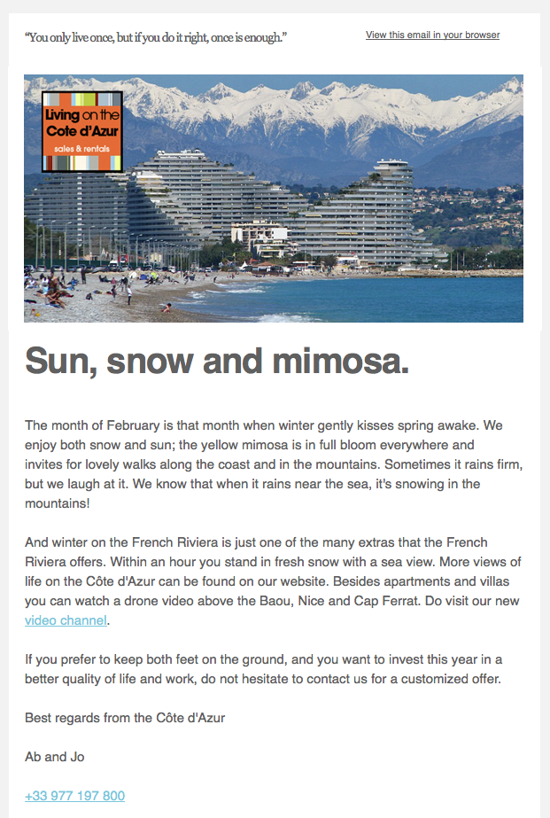 Newsletter, e-mailing, french riviera real estate